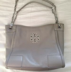 Taupe Tory Burch tote with dustbag